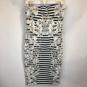 Express White Black Floral Strapless Dress SZ 12